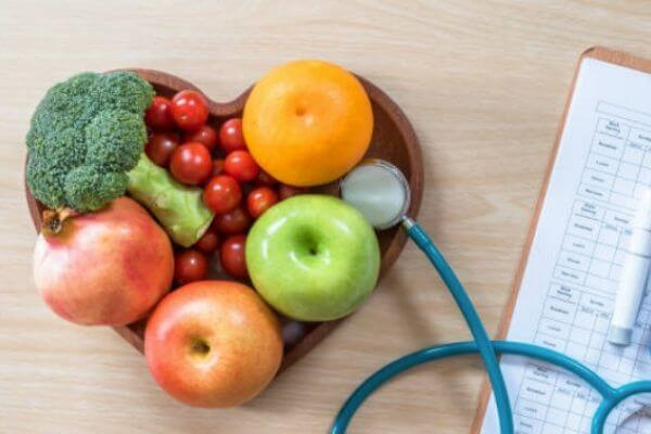 Photo of fruits and vegetables for diabetic nutrition counseling.