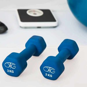 Hand weights, scale and exercise ball